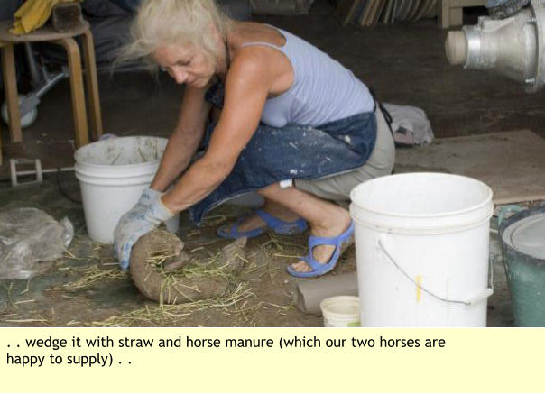. . wedge it with straw and horse manure (which our two horses are happy to supply) . .