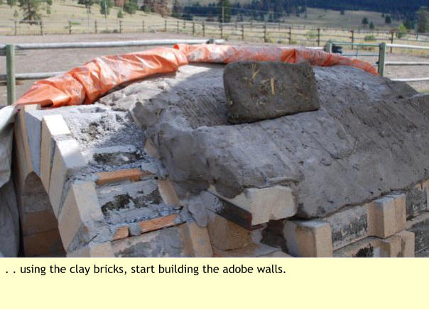 . . using the clay bricks, start building the adobe walls.